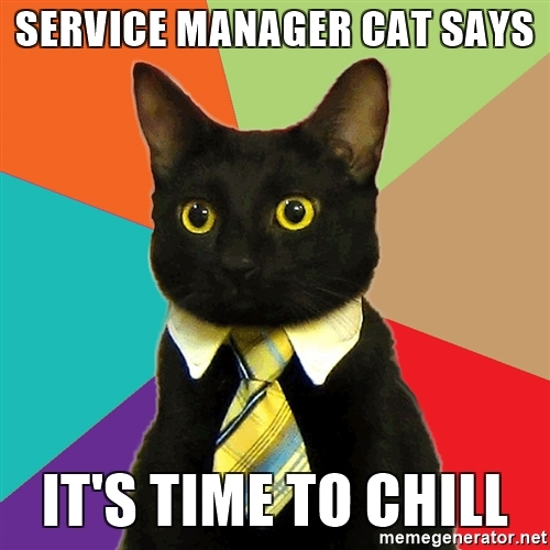 service manager cat says its time to chill